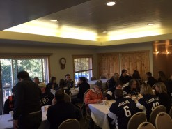 Enjoying the first meal together, Altos rocking their matching jackets...
