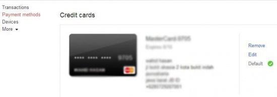 Cara Menghapus Kartu Kredit di Google Play Store
