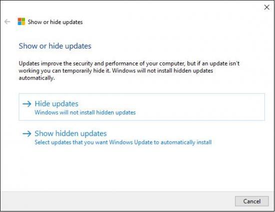 Show or hide updates pada Windows 10