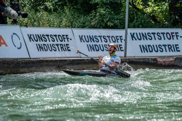 Kanu-Slalom-Gold_Canadier-Einer_3.Worldcup-2018-Augsburg-Sideris-Tasiadis_Kanu-zum-Frühstück