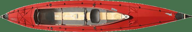 Ein otes Klepper Faltboot.