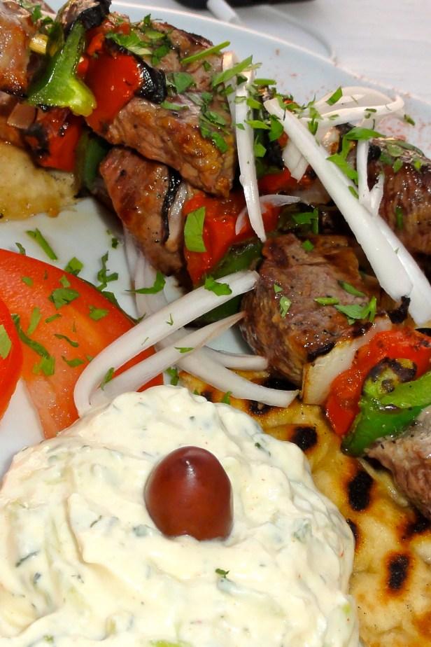 Beef Souvlaki with tzaziki