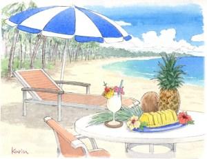 水彩 風景 ハワイ