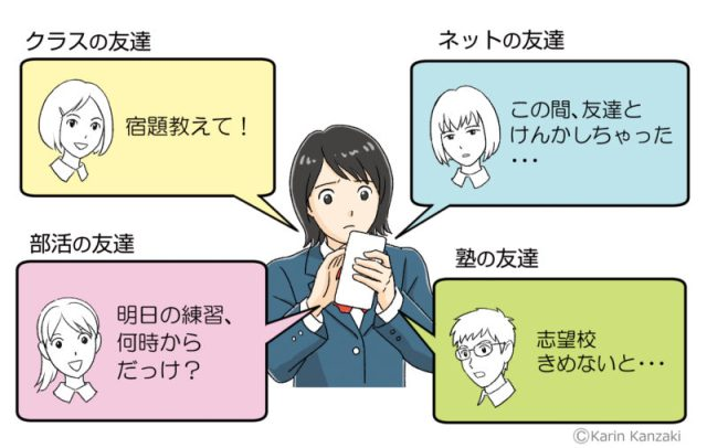 高校生LINE疲れ イラスト