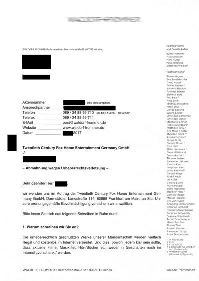 Abmahnung wegen Urheberrechtsverletzung Waldorf Frommer