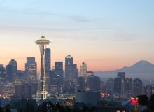 Seattle's Space Needle with Mount Rainier in the distance – Wikimedia.org