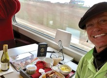 Cynthia Lee Sinclair enjoys a delicious breakfast on the train - Cynthia Lee Sinclair