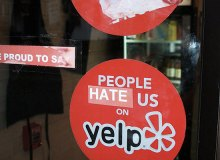 Business owners place stickers on their doors protesting against Yelp - Flickr