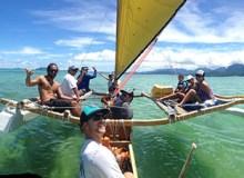 Students in the Polynesian Voyaging lab sail around Kualoa -Courtesy of Leimomi Dierks