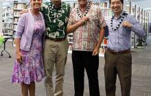 From left to right: Cynthia Lee Sinclair leads Senator Kaiali'i Kahele, Rep. Angus McKevley and Senator Stanley Chang in the White Ribbon pledge - Eliana Christianson