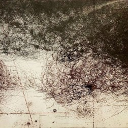 Flowing III Etching・Drypoint・ Aquatint・BFK Rives・Gampi-Paper(Mino) エッチング・ドライポイント・アクアチント・BFK紙・雁皮刷り・美濃和紙 image size H50cmxW38cm ed.12 2017