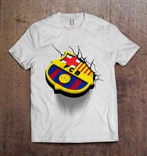 Kaos Barca Logo WHITE