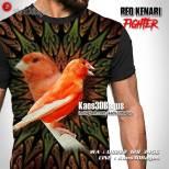 Kaos3D Kicau Mania, Kenari Mania, Red Kenari, Kaos Burung Kenari