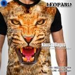Kaos3D, Harimau, Macan Tutul, Animal Lover, Kaos KEPALA MACAN, Kaos BINATANG