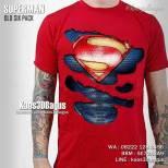 Kaos 3D Six Pack - SUPERMAN Old Six Pack RED - Kaos Superhero 3D