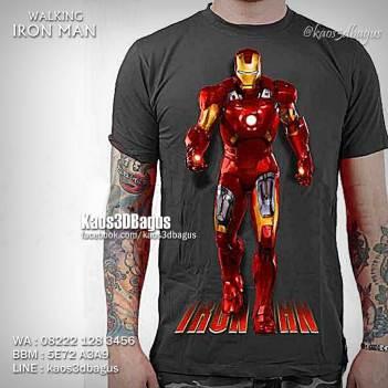 Kaos IRON MAN WALKING 3D, KAOS 3D IRON MAN, Kaos3D, Kaos 3D Bagus, Kaos 3D Umakuka, Kaos 3 Dimensi, Kaos 3D Gambar Nyata
