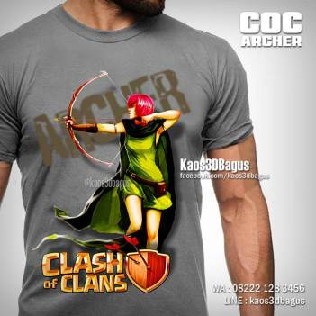 Kaos COC ARCHER, Kaos Clash Of Clans, Karakter COC, Supercell, Kaos 3D, https://www.facebook.com/kaos3dbagus, WA : 08222 128 3456, LINE : @kaos3dbagus