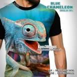 Kaos BUNGLON BIRU, Kaos3D, Komunitas Reptil Indonesia, Kaos GAMBAR BUNGLON