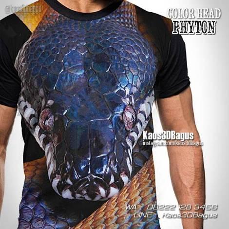 Kaos Gambar Ular Piton, Phyton Snake, Ular Phyton Biru, Kaos Kepala Ular, Kaos 3D
