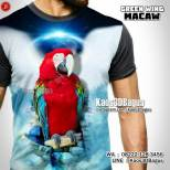 Kaos BURUNG MACAW, Indonesian Parrot Lovers, Klub Burung Macaw, Green Wing Macaw, Blue and Yellow Macaw, Scarlet Macaw