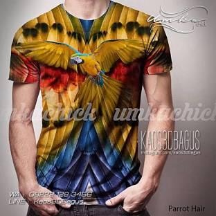 Kaos 3D Bahan SUPER PREMIUM, Kaos Burung Macaw, Kaos Burung Nuri