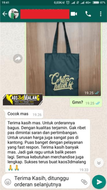 Testimoni Kaos 3D Malang - Buat Totebag Malang Custom