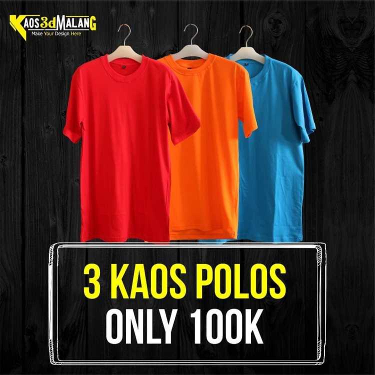 Promo Kaos Polos 3 kaos hanya 100k