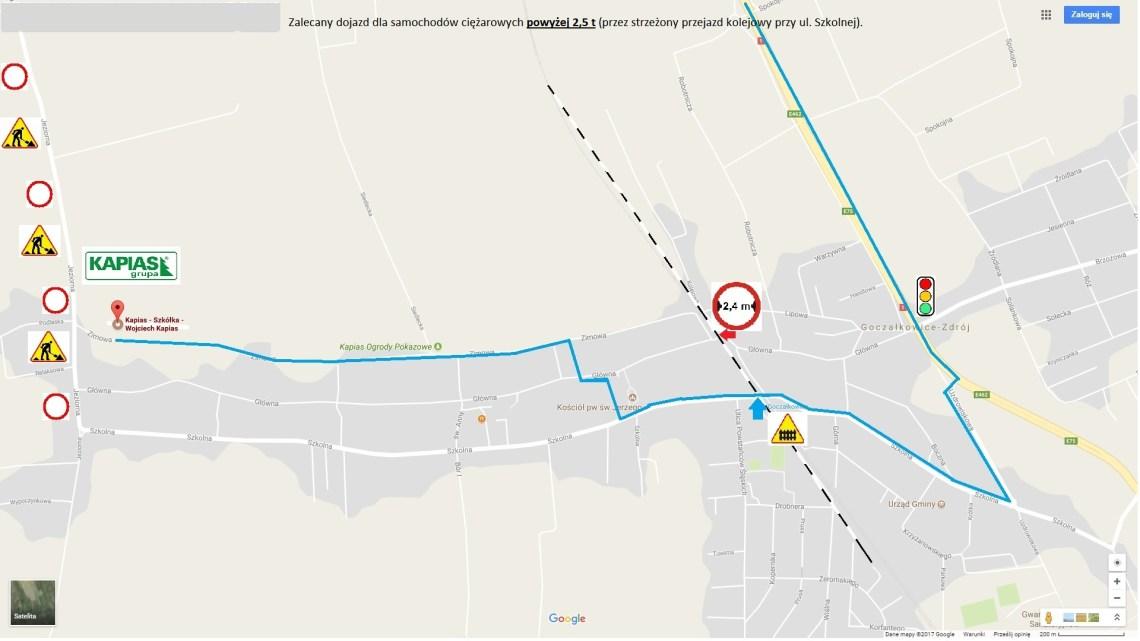 Grupa Kapias mapa dojazdu dla samochodów ciężarowych