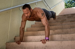 Decline push up on staircase