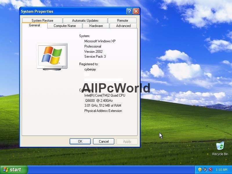 Interfaz de usuario para Windows XP Pro SP3