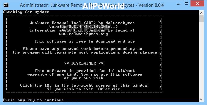 Herramienta de eliminación de junkware 8.0.7 Línea de comandos