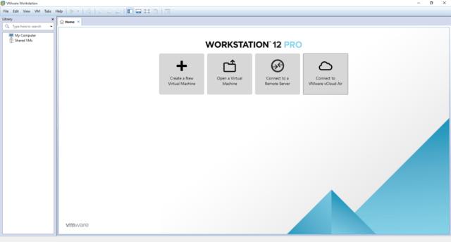 Pantalla de inicio de VMware Workstation 12 Pro