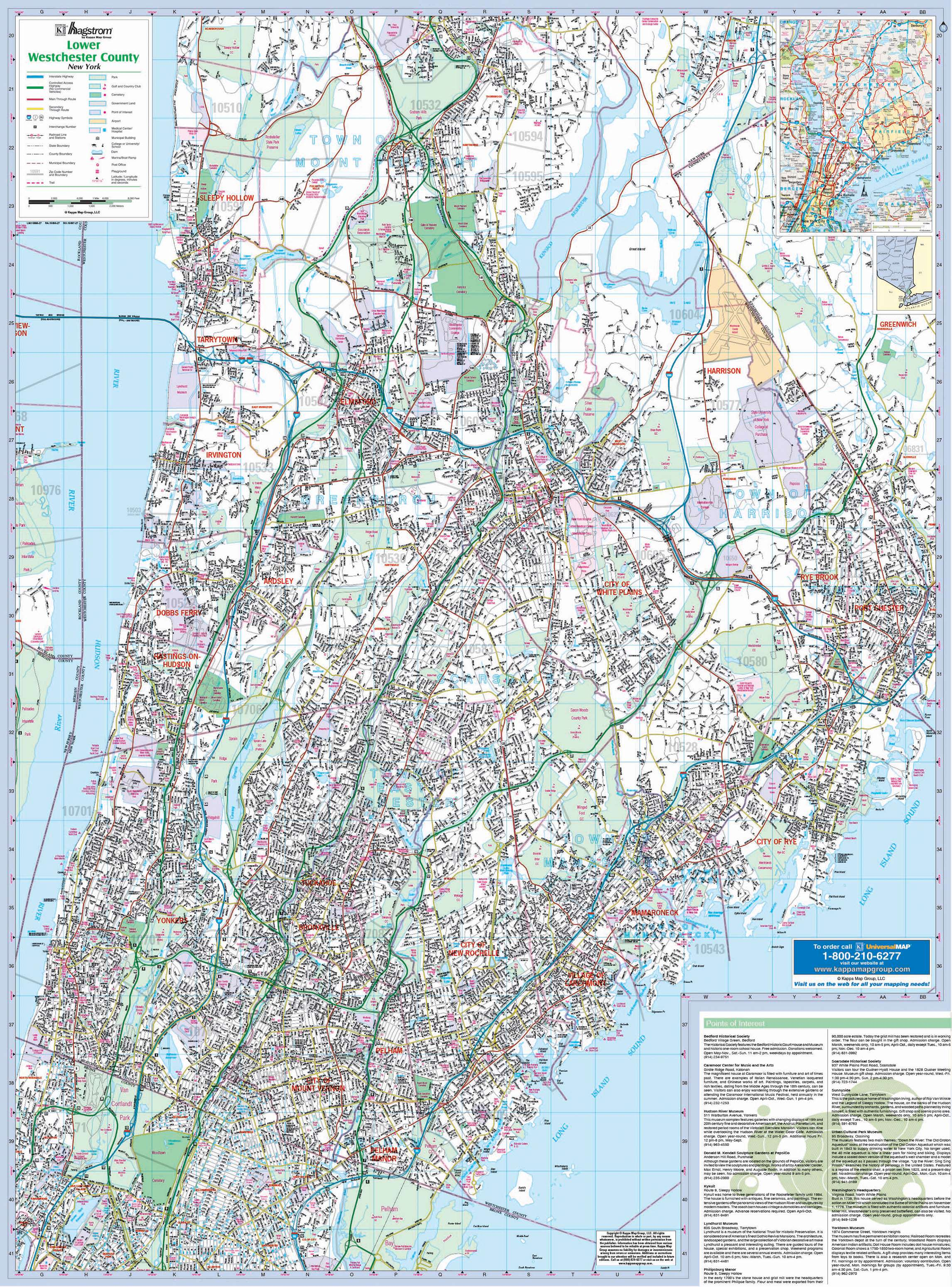 Westchester County NY Lower Wall Map KAPPA MAP GROUP
