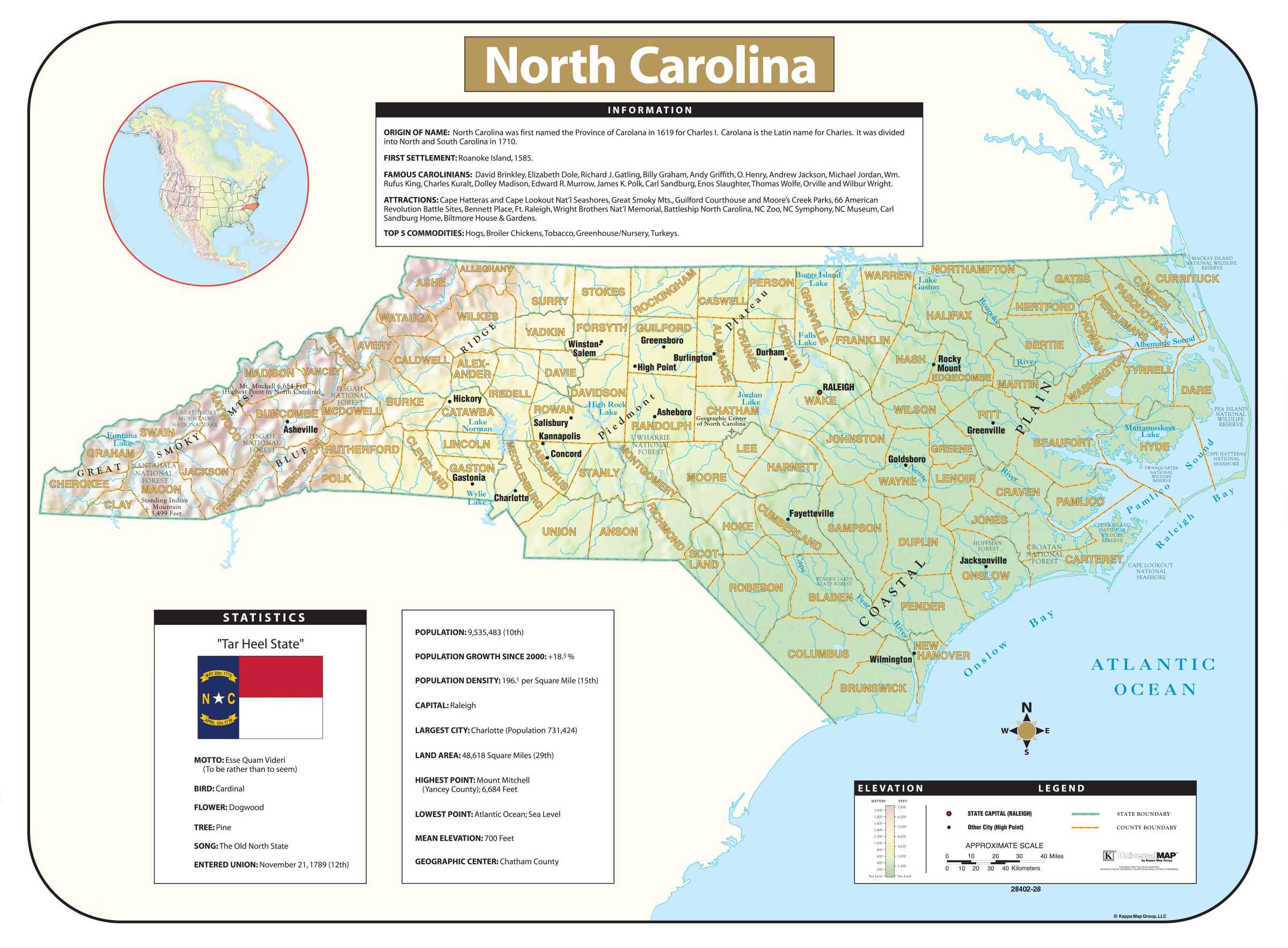 North Carolina Shaded Relief Map Kappa Map Group