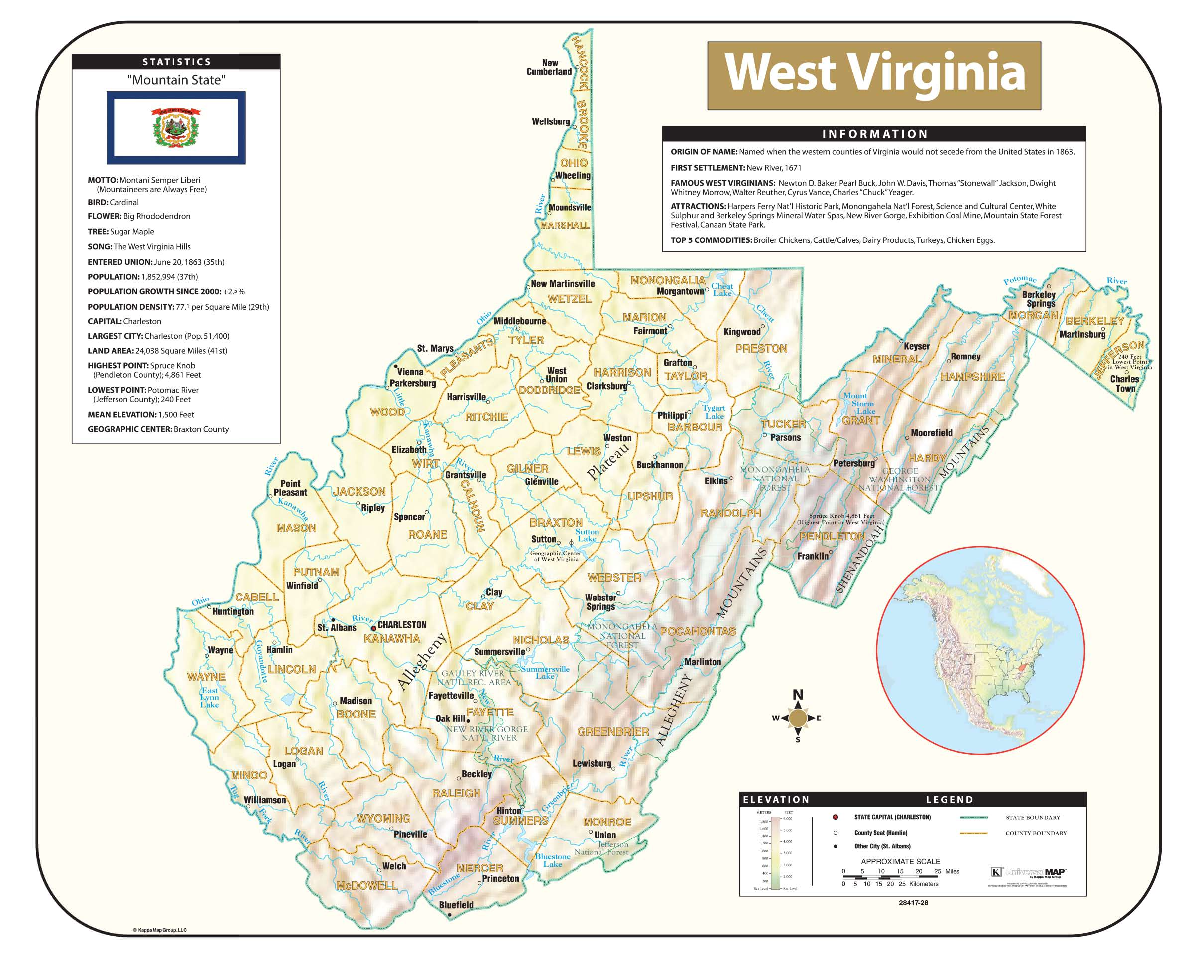 West Virginia Shaded Relief Map Kappa Map Group