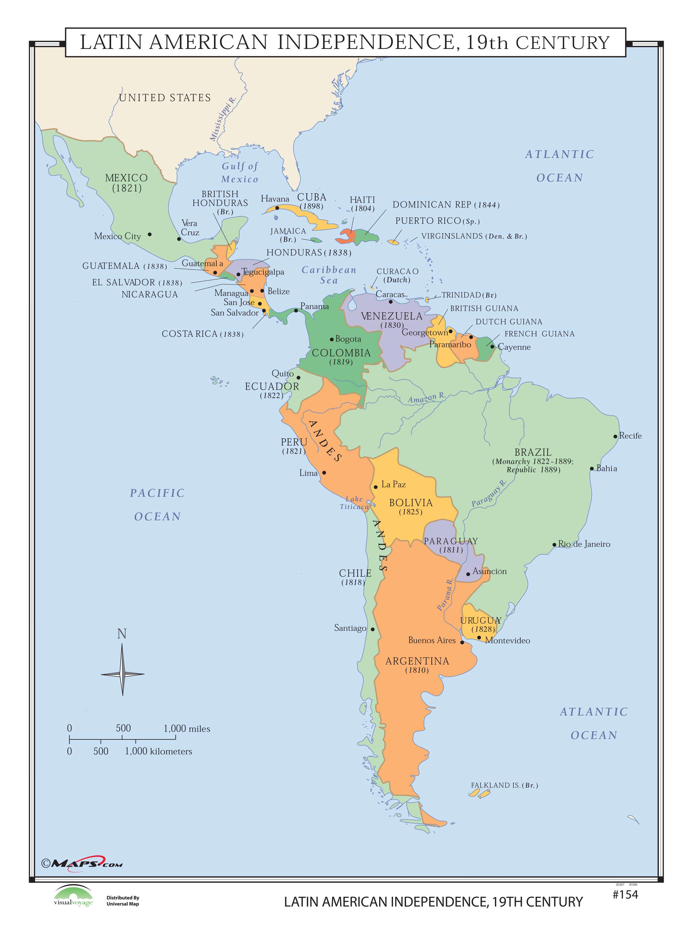 154 Latin American Independence 19th Century Kappa Map