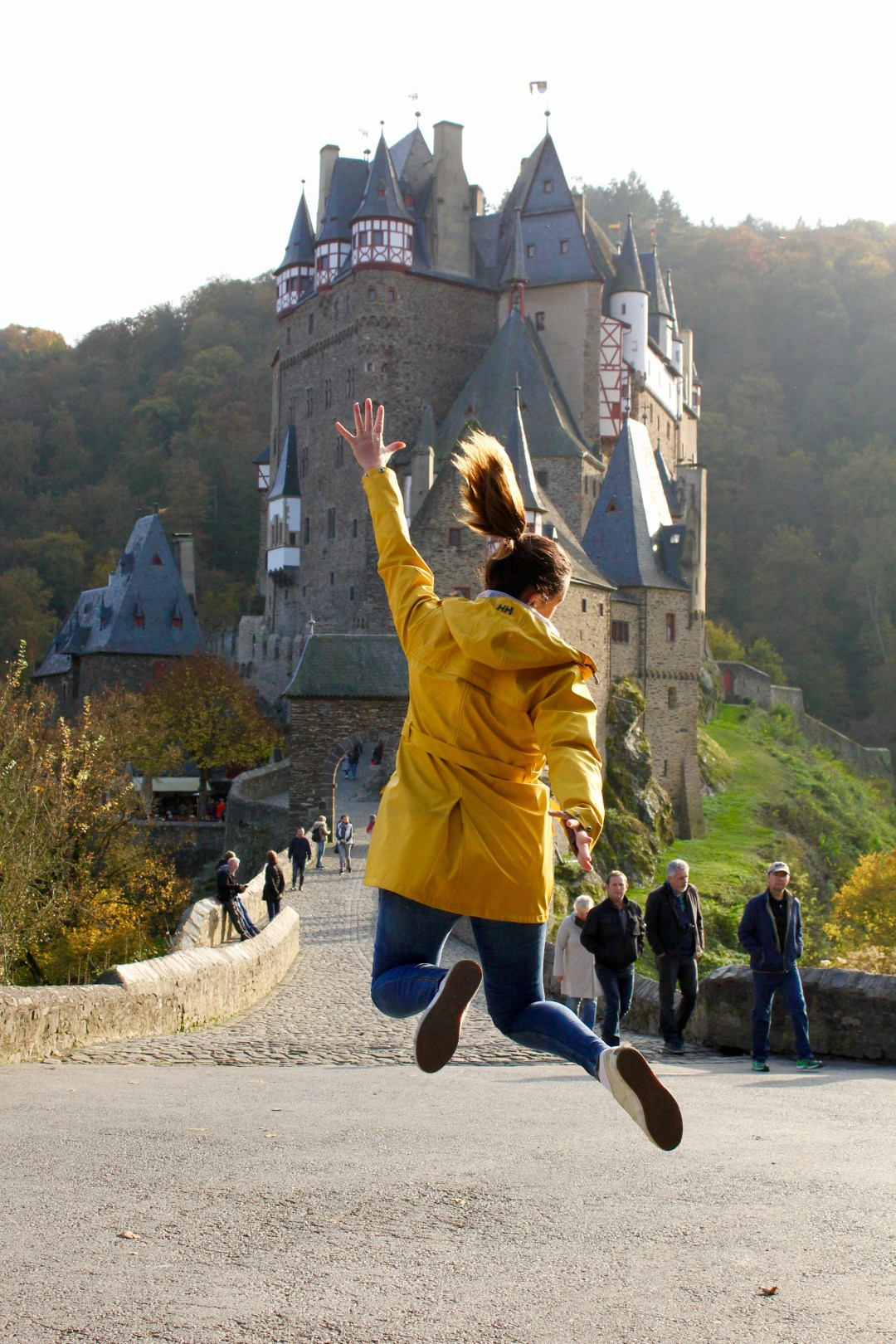 Jumping for joy at Burg Eltz, Germany
