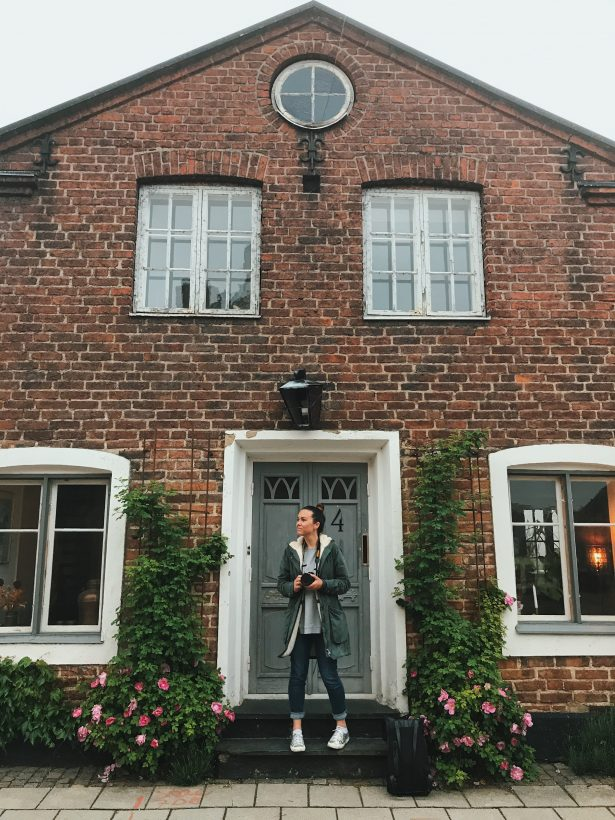 Standing in front of a beautiful Swedish house in Lund