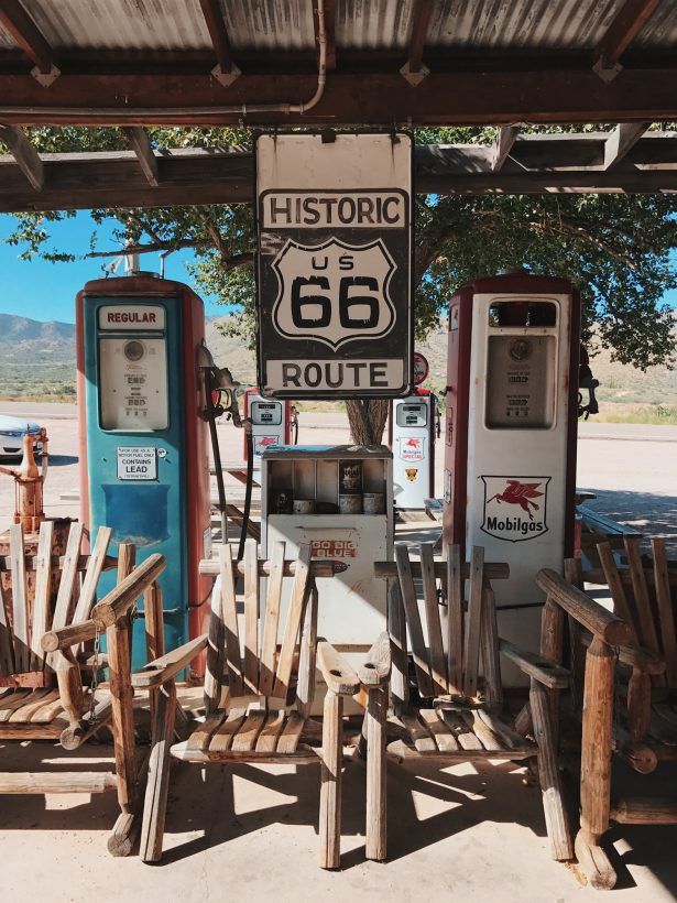 A stop at a famous gas stop on Route 66. Lots of old wooden chairs and refueling stations.