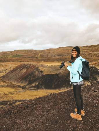Standing on top of an Icelandic crater Grabrok west Iceland