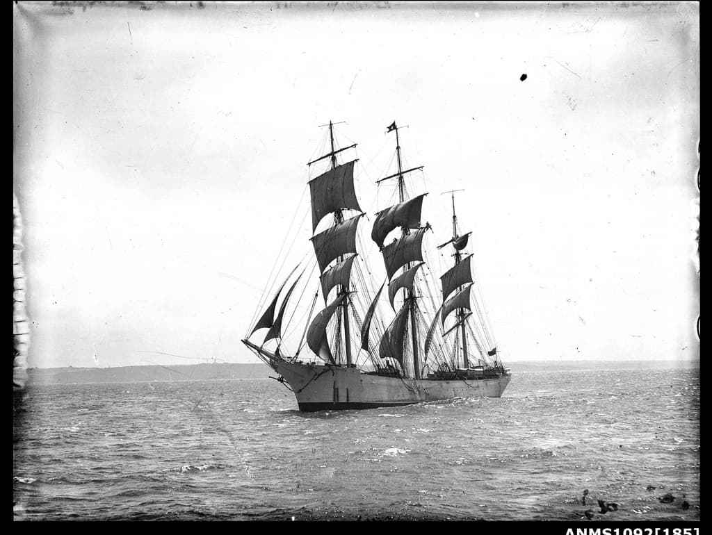 Vessel underway, possibly the training ship MERSEY