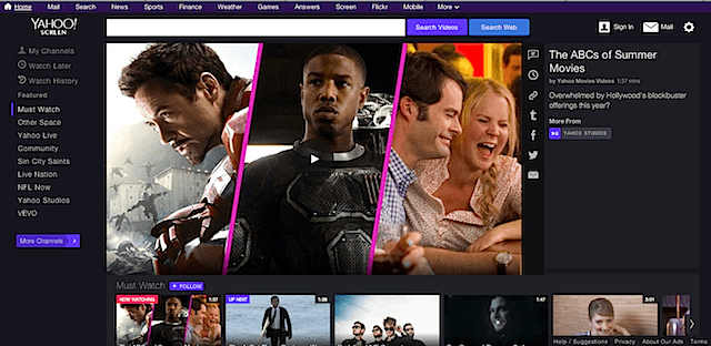 Screenshot of Yahoo video home page