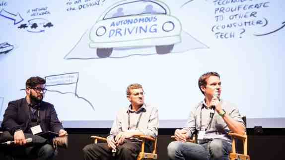 (Left) Moderator Mike Murphy, Reporter at Quartz , (center) Sanjiv Nanda, VP of Engineering Qualcomm Research and (right) Laszlo Kishonti, CEO of AdasWorks. ©Robert Wright/LDV Vision Summit