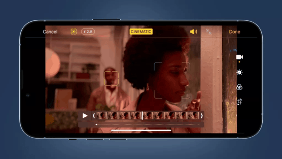 A view of Apple's new cinematic mode