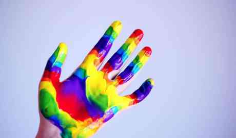 hand full of paint colors