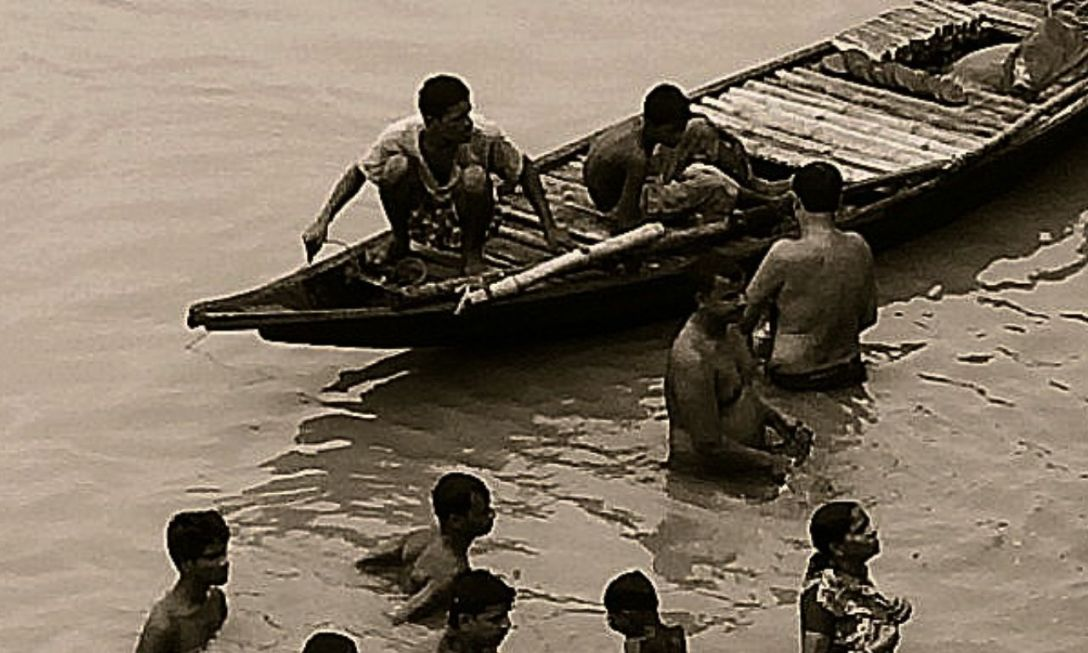 Bathers near Boat