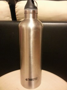 Reusable metal water bottle.