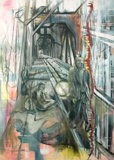 "Parallel oil, ink, enamel, charcoal, acrylic, silver gelatin print on canvas, 40""x58"""