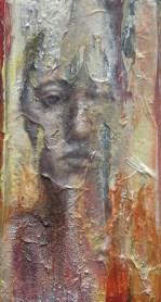 "Disintegration Portrait (series) oil, graphite, rice paper, acrylic on wood block, 3""x6"""