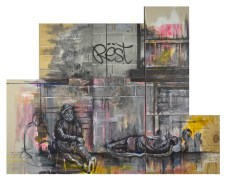 """The Passing oil, charcoal, resin sand, acrylic, silver gelatin print on multiple canvas and wood panels, 60""""x42"""""""